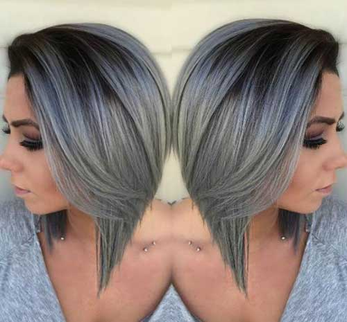 Black and Silver Ombre Short Hair