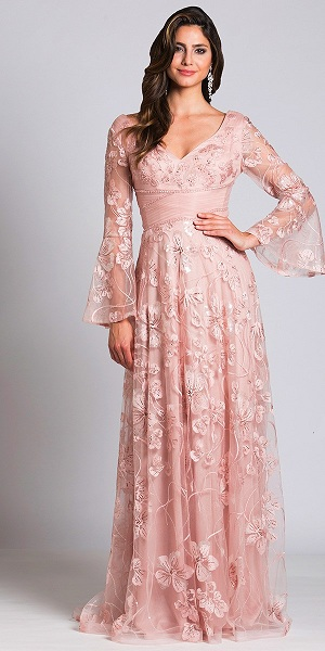 Blush Long Sleeve Evening Gown