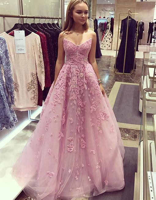 Laced Tulle Pink Prom Dress