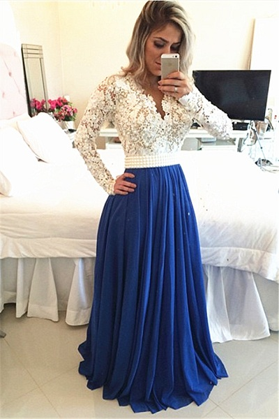 Lace Pearls Long Sleeved Evening Gown