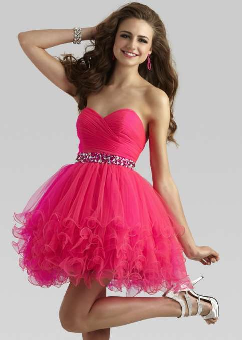 Short Stylish Dress In Bright Pink