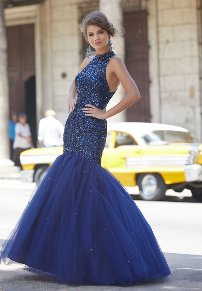 Tulle Skirt Attached Mermaid Prom Dress