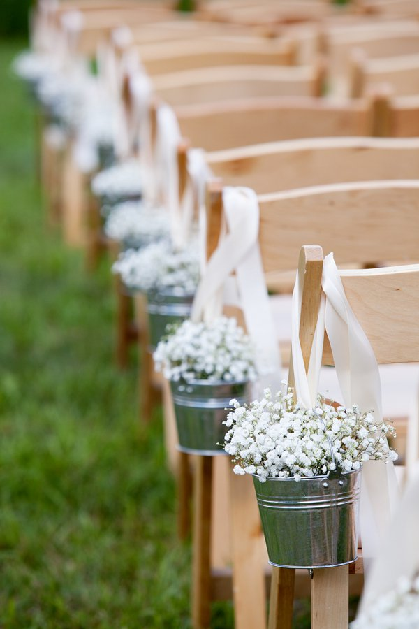 Little Buckets With White Flowers
