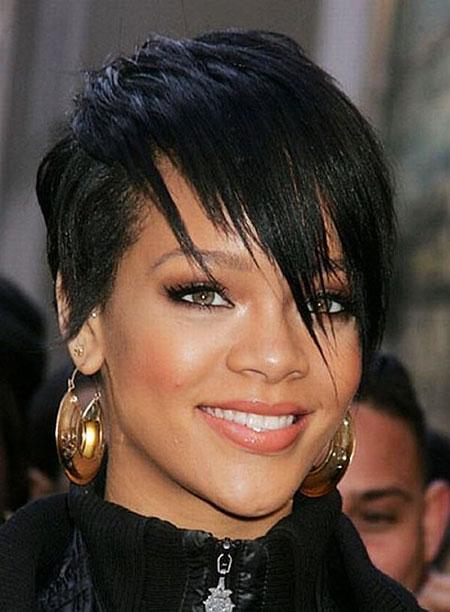 Rihanna Short Hair, Short Bangs Wavy Taylor