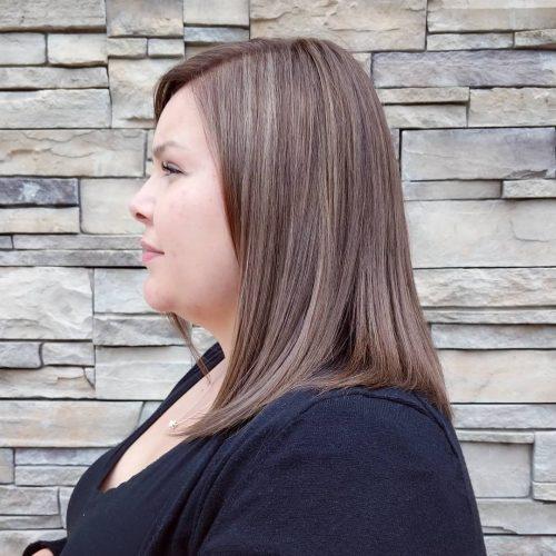 Medium Length Light Brown Hair with Ash Blonde Highlights