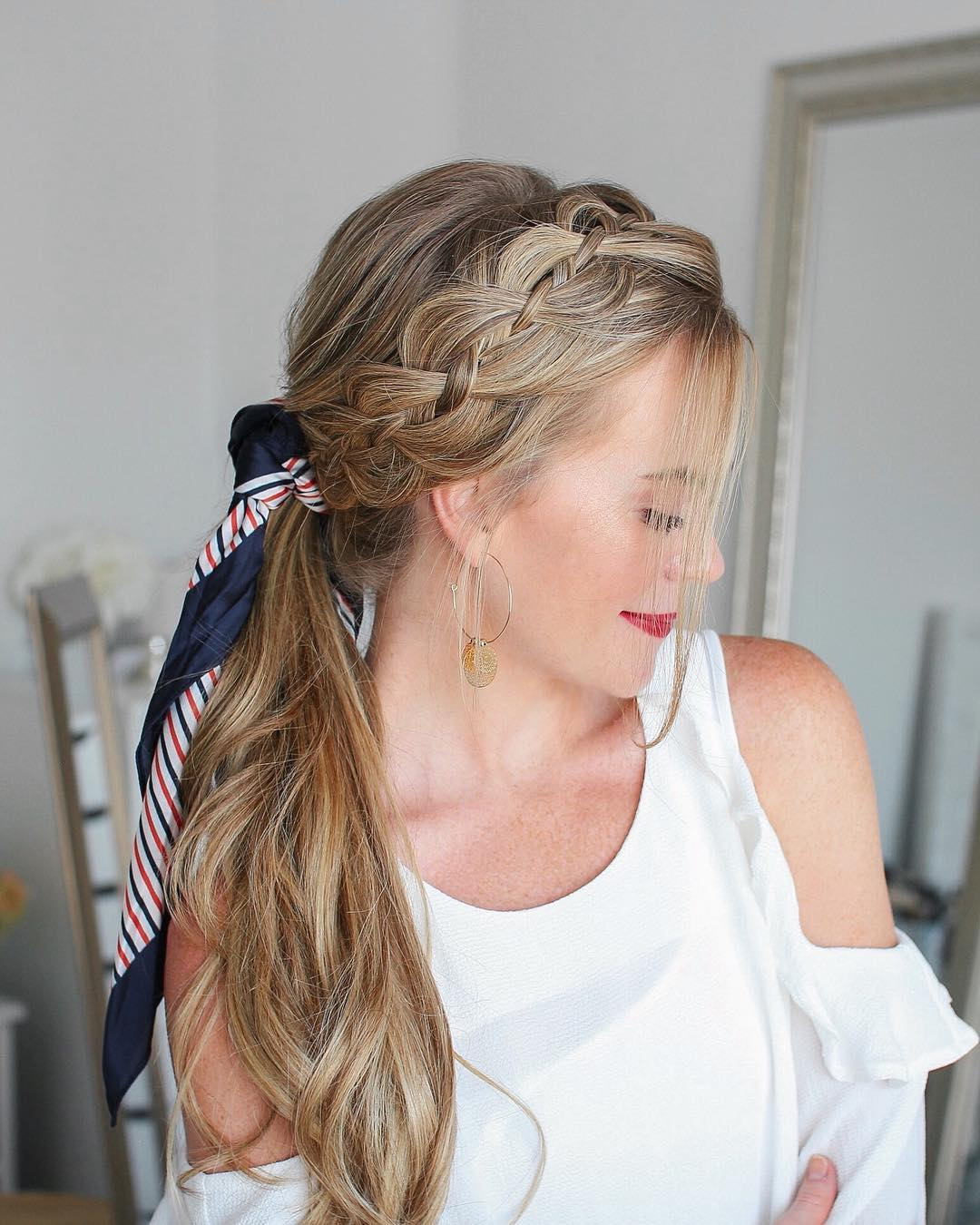 Side Braided Ponytail with Hair Ribbon