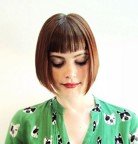 Middle Parted Angled Bob