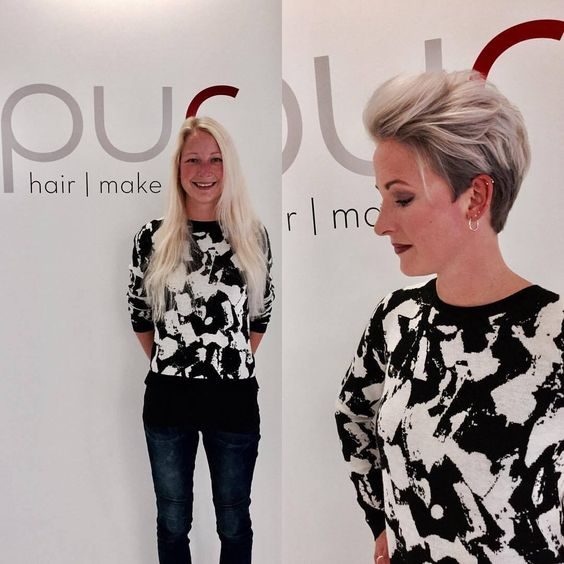 Long Bleached Hair to Voluminous Swept-Back Pixie